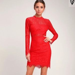 Lulu's Red Lace Appetite For Seduction Dress NWT
